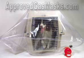 Pet Safe provides an excellent protection shield for dogs, cats or other animals against NBC weapons using the same principal as a gas mask or protective enclosure.