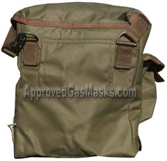Surplus British military gas mask bag - rear view