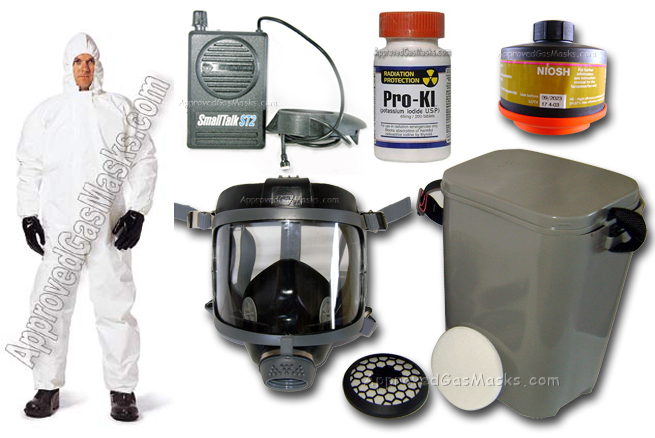 Kit includes 1 DP (Domestic Preparedness) Gas Mask, 1 DP (Domestic Preparedness) Gas Mask Filter, 1 SmallTalk microphone & loudspeaker, 1 Filter Retainer & 5 Pack of HEPA Pre-Filters, 1 PVC storage/carry case, and 1 Bottle of ProKI Potassium Iodide included free