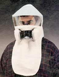 Protective respirator hood for use with NBC gas masks