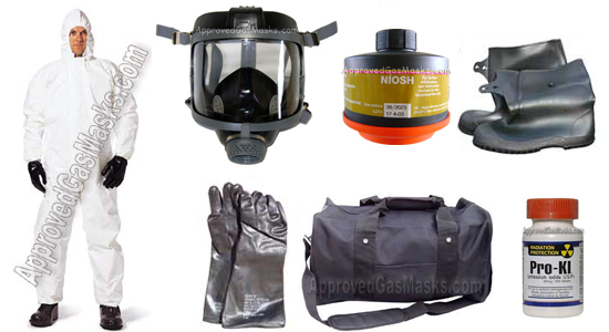 Kit includes an DP (Domestic Preparedness) Gas Mask, DP (Domestic Preparedness) Filter,  chemical suit, gloves, boots, potassium iodide, duffle bag and more!
