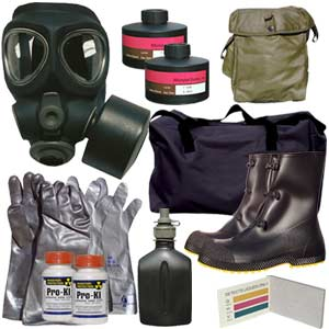 Kit includes an M95 gas mask, M95 NBC filter, mask bag, chemical suit, gloves, boots, mask bag, M8 chemical detection paper, potassium iodide, chemical detection paper, duffle bag and more!
