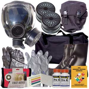 Kit includes a premium MSA Millennium gas mask, M95 NBC filter, mask bag, chemical suit, gloves, boots, mask bag, M8 chemical detection paper, potassium iodide, chemical detection paper, duffle bag and more!