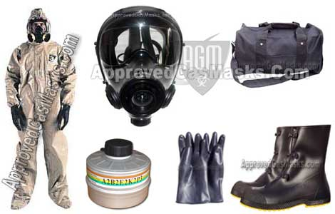 Kit includes an SGE400 gas mask, M95 NBC filter, mask bag, chemical suit, gloves, boots, mask bag, M8 chemical detection paper, potassium iodide, chemical detection paper, duffle bag and more!