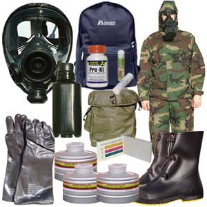 Approved Gas Masks - Gas Mask Kits with mask, filter, suit, gloves