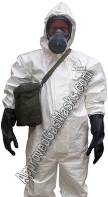 Protective Kit comes with SGE400 gas mask, suit, boots, gloves, mask bag, duffle bag, potassium iodide and more