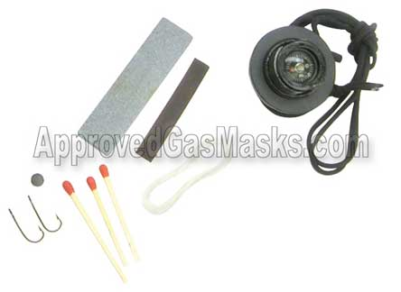 Kit includes fishing tackle, shapening stone, compass and matches