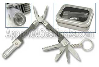 Mini multiple function multi purpose tool w/LED light and more