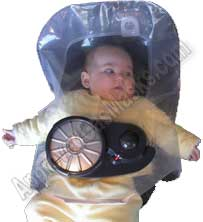 Baby Scape child gas mask hood is designed for children from age 3 months to 3 years old