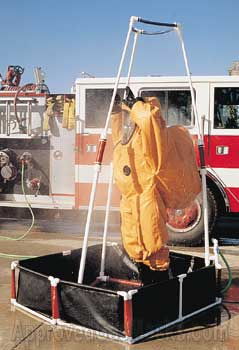 Decontamination shower will fit any full-sized man with full SCBA or HAZMAT gear