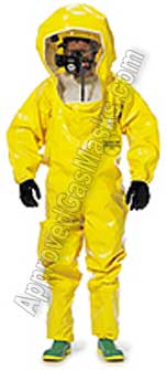 Tychem BR 400 BR400 Protective Chemical Suit - Coveralls with boots and hood